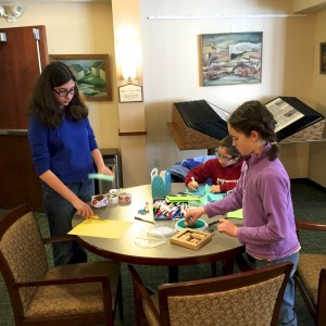 Hebrew School children doing craft project