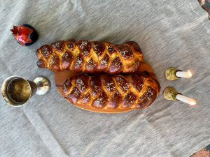 Sabbath Challah, Candles, Wine cup and Challah Cover