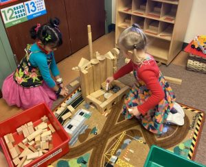 Girls playing with blocks