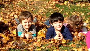 kids in leaves
