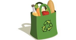 green recycling bag full of food