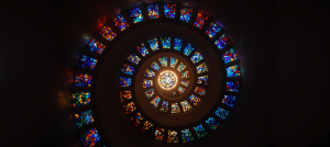 spiral of stained glass windows