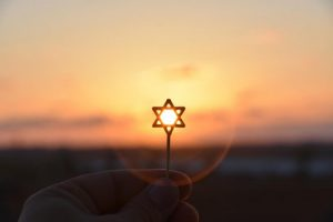 star of David against sunrise