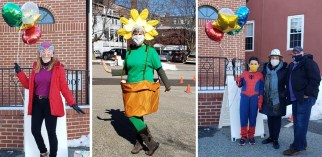 purim costumed celebrants