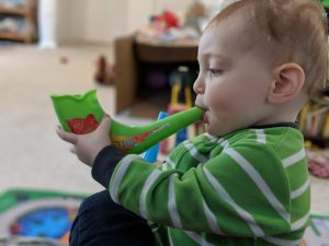 Baby Boy blowing Shofar