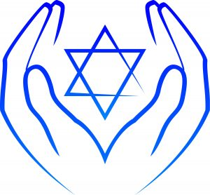 blue hands cupping jewish star